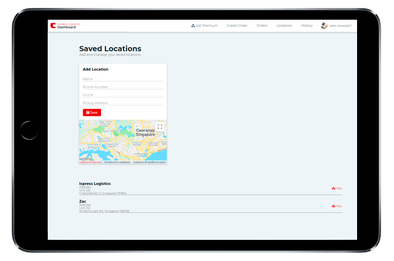 Ixpress Courier Service saved locations in dashboard - best document courier service singapore - Ixpress Courier